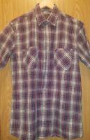 Pendleton Santiam Shirt Size M Plaid Red Blue Brown White  Red Short Sleeve
