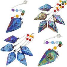 Titanium Coated Crystal Quartz Pendulum Healing Dowsing Reiki 7 Chakra Gemstone