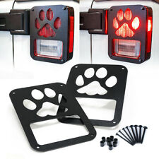 Pair Black Rear Taillight Cover Guard Pet Claw Paw Logo Fits 07-18 Wrangler