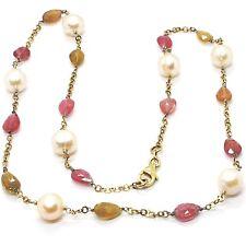 Collar Plata 925 , Amarillo, Turmalina Gota, Perlas Redondas, Cadena Rolo