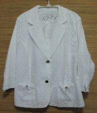 Draper's & Damon's White Cotton Eyelet Button Front Lined Jacket Size XL