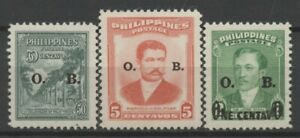 """No: 103861 - PHILIPPINES (USA) - LOT OF 3 OLD STAMPS w. OVERPRINTS """"O. B"""" - MNH!"""