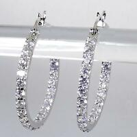 """18K White Gold Plated Clear Crystal CZ Inside Outside Round Hoop Earrings 1 1/8"""""""