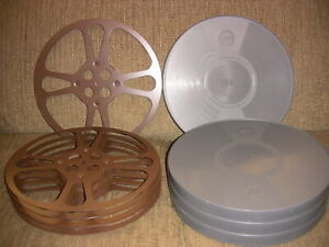 FOUR- 1600ft Goldberg 16mm Steel reels and archival plastic cans - NEW -