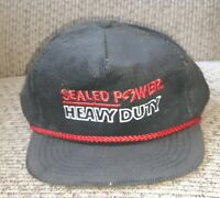 NEW USA Vintage Sealed Power Heavy Duty Black Corduroy Trucker Hat SnapBack ROPE