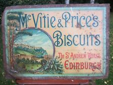 More details for mcvitie + price biscuits c19 tin lithographed sign st andrew works edinburgh vgc