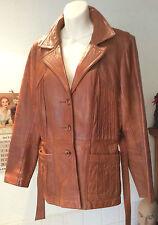 "vintage 1970's light tan leather jacket optional tie waist pointy collar-36-38"""
