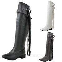 WOMENS OVER THE KNEE BOOTS BLOCK LOW HEEL LADIES STRETCH LEG THIGH HIGH SHOES