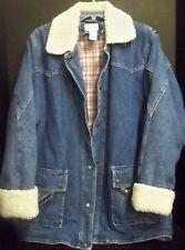 Vintage Dani Colby Denim Quilted Coat Jacket Sz M Plaid Flannel Lining Hong Kong