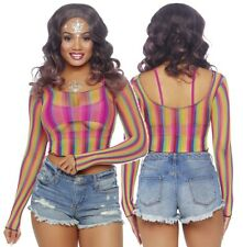 Rainbow Fishnet Long Sleeved Crop Top, Gay Pride, Sexy, Beach Cover Up, Festival
