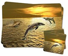 Gold Sea Sunset Dolphins Twin 2x Placemats+2x Coasters Set in Gift Box, AF-D4PC