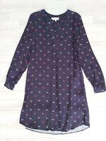 HOBBS Size 6 Navy Blue Floral Pattern Tunic Shirt Dress Summer Autumn