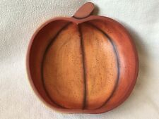Decorative Pumpkin Wood Bowl Orange Autumn Fall Halloween Thanksgiving