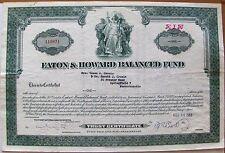 Vintage stock certificate Eaton & Howard Balanced Fund. Boston, 1950's-1960's