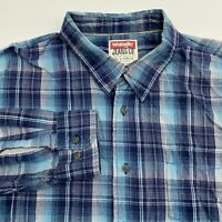 Wrangler Button Up Shirt Men's 2XL XXL Long Sleeve Blue Plaid Casual 100% Cotton