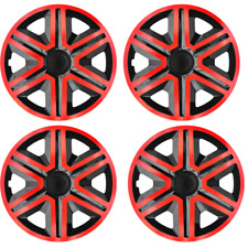 14 Inch Wheel Trim Set Gloss Black Set of 4 Univers Hub Caps Covers [AKTNRED]