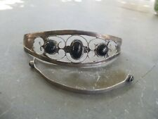 Vintage Sterling Silver and Turquoise Stick Hair Barrette Marked Mexico
