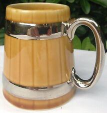 Beautiful Vintage Wade Gilt Banded Barrel Design Ceramic Tankard or Coffee Mug