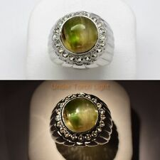 9.10ct Natural Cat's Eye Tourmaline Man Ring With Topaz in 925 Sterling Silver