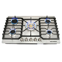 """Cooker Stoves Cooktops 30"""" Stainless Steel Gold Built-in 5 Burner NG/LPG Gas Hob"""
