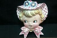 vintage LEFTON marked Miss Dainty Daisy ceramic wall pocket head vase planter