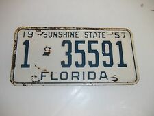 1957 57 FL License Plate 1-35591 Dade County Florida Tag