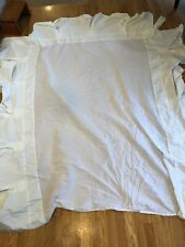Pottery Barn bedskirt pleated button white cream full size