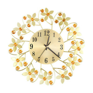Wall Clock European Wrought Iron Luxury Floral Diamond Fashion Room Decord