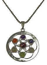 Star fleur spirituelle chakra pendentif plaqué argent avec de véritables pierres précieuses