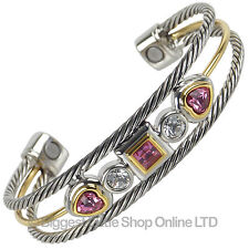 Ladies Magnetic Bangle Pink Crystals 2 Magnets Stainless Steel Faux Gemstones