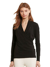 NWT Lauren.Ralph Lauren women  SHOUSHAN  Faux wrap top in Black, size S