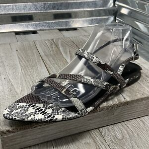 Charles & Keith Sandal Strap Buckle Embossed Reptile Black Grey Women's Size 9