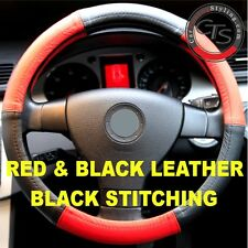 CAR STEERING WHEEL COVER SIZE 37-39cm RED & BLACK LEATHER