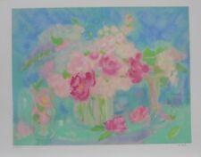 """Lithographie Originale de Michèle GOUR """" Bouquet de roses II """" ."""