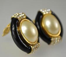 vintage Ciner signed huge statement crystal black enamel pearl clip earrings