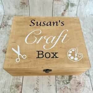 Personalised Rustic Wooden Craft Box Wood Storage Mum Nan Gran Mothers Day
