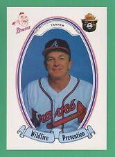 """1987 Smokey Bear Wildfire Prevention Chuck Tanner Atlanta Braves 4.25""""x6"""" (KCR)"""