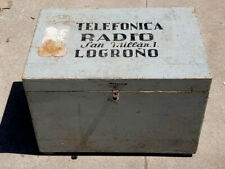 vintage ANTIGUA CAJA de madera de TELEFONICA  de LOGROÑO de coleccion