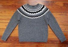 NEW Vince mens LARGE gray fair isle woolblend sweater Nordic Icelandic Lopapeysa