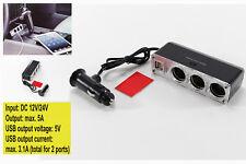 ✔✔✔ STECKDOSE 3 FACH mit 2 USB Zigarettenanzünder Verteiler KFZ 12V 24V BUCHSE