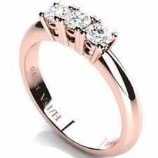 3 Diamonds Anniversary Ring 0.45 ct Vs1 / H Rose Gold 18K Engagement Wedding