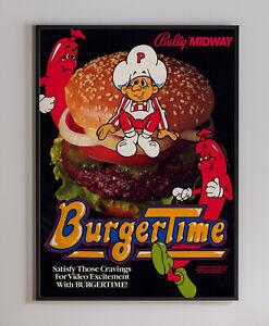 BurgerTime 1982 Arcade Video Game Retro Print Poster 18 x 24 inches