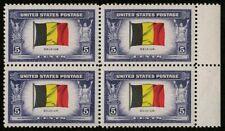 US 1943 #914 - 5c Belgium Overrun Countries Block/4 OG Mint MNH XF