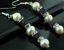 Handcrafted Silver, CZ, Pearl and Amethyst Gemstone Drop Dangle Hook Earrings