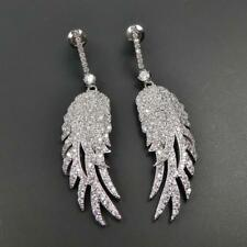 Shiny Silver Rhodium Plated CZ Cubic Zirconia Pave Angel Wing Feather Earrings
