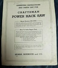 Craftsman 108.1502 Power Hack Saw 1950s Operating Instructions Parts List Vtg