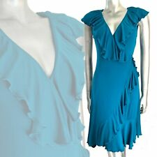 Diane Von Furstenberg Malloricita Ruffle Teal Wrap Frill Dress  8 10 12 14 16
