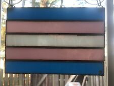 TRANSGENDER Pride Flag Done In Stained Glass (001)