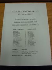28/09/1993 Colour Teamsheet: Wycombe Wanderers v Barnet [Autoglas Trophy] (folde