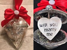 Will you marry me Glass heart  bauble, engagement proposal keepsake
